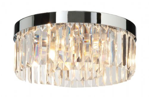 Chrome effect plate & clear crystal (k9) glass Flush IP44 Light BX35612-17  (Double Insulated)